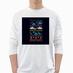 My Grandma Likes Dinosaurs Ugly Holiday Christmas Blue Background White Long Sleeve T Shirts