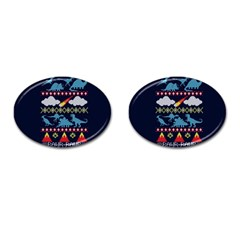My Grandma Likes Dinosaurs Ugly Holiday Christmas Blue Background Cufflinks (oval)