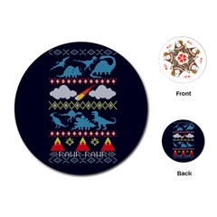 My Grandma Likes Dinosaurs Ugly Holiday Christmas Blue Background Playing Cards (round)