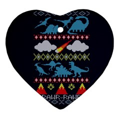 My Grandma Likes Dinosaurs Ugly Holiday Christmas Blue Background Heart Ornament (two Sides)