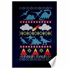 My Grandma Likes Dinosaurs Ugly Holiday Christmas Blue Background Canvas 24  X 36