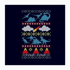 My Grandma Likes Dinosaurs Ugly Holiday Christmas Blue Background Medium Glasses Cloth (2 Side)