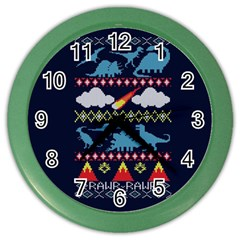 My Grandma Likes Dinosaurs Ugly Holiday Christmas Blue Background Color Wall Clocks
