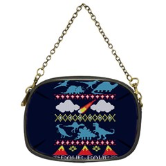 My Grandma Likes Dinosaurs Ugly Holiday Christmas Blue Background Chain Purses (one Side)