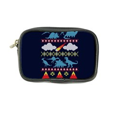 My Grandma Likes Dinosaurs Ugly Holiday Christmas Blue Background Coin Purse