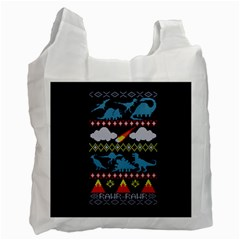 My Grandma Likes Dinosaurs Ugly Holiday Christmas Blue Background Recycle Bag (two Side)