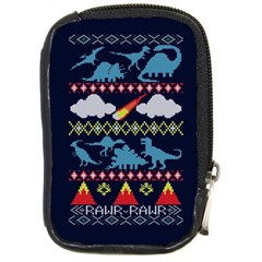 My Grandma Likes Dinosaurs Ugly Holiday Christmas Blue Background Compact Camera Cases