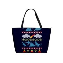 My Grandma Likes Dinosaurs Ugly Holiday Christmas Blue Background Shoulder Handbags