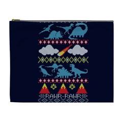 My Grandma Likes Dinosaurs Ugly Holiday Christmas Blue Background Cosmetic Bag (xl)