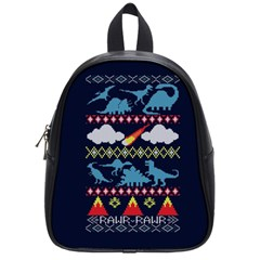 My Grandma Likes Dinosaurs Ugly Holiday Christmas Blue Background School Bag (small)