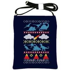My Grandma Likes Dinosaurs Ugly Holiday Christmas Blue Background Shoulder Sling Bags