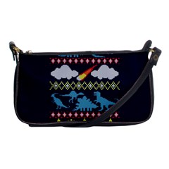 My Grandma Likes Dinosaurs Ugly Holiday Christmas Blue Background Shoulder Clutch Bags