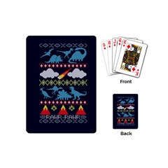 My Grandma Likes Dinosaurs Ugly Holiday Christmas Blue Background Playing Cards (mini)