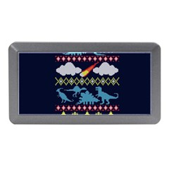 My Grandma Likes Dinosaurs Ugly Holiday Christmas Blue Background Memory Card Reader (mini)
