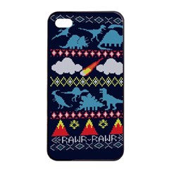 My Grandma Likes Dinosaurs Ugly Holiday Christmas Blue Background Apple Iphone 4/4s Seamless Case (black)