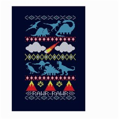 My Grandma Likes Dinosaurs Ugly Holiday Christmas Blue Background Large Garden Flag (two Sides)