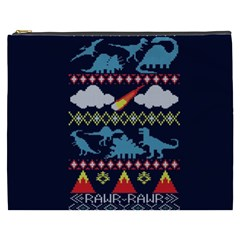 My Grandma Likes Dinosaurs Ugly Holiday Christmas Blue Background Cosmetic Bag (xxxl)
