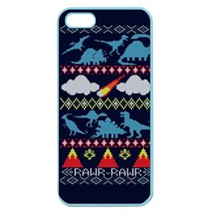 My Grandma Likes Dinosaurs Ugly Holiday Christmas Blue Background Apple Seamless Iphone 5 Case (color)