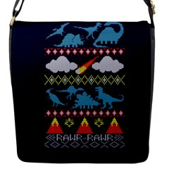 My Grandma Likes Dinosaurs Ugly Holiday Christmas Blue Background Flap Messenger Bag (s)