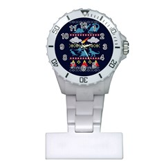 My Grandma Likes Dinosaurs Ugly Holiday Christmas Blue Background Plastic Nurses Watch