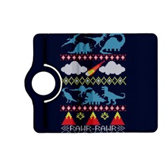 My Grandma Likes Dinosaurs Ugly Holiday Christmas Blue Background Kindle Fire Hd (2013) Flip 360 Case