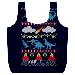 My Grandma Likes Dinosaurs Ugly Holiday Christmas Blue Background Full Print Recycle Bags (l)