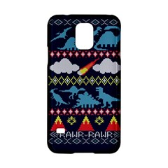 My Grandma Likes Dinosaurs Ugly Holiday Christmas Blue Background Samsung Galaxy S5 Hardshell Case