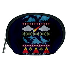 My Grandma Likes Dinosaurs Ugly Holiday Christmas Blue Background Accessory Pouches (medium)