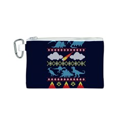 My Grandma Likes Dinosaurs Ugly Holiday Christmas Blue Background Canvas Cosmetic Bag (s)