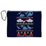 My Grandma Likes Dinosaurs Ugly Holiday Christmas Blue Background Canvas Cosmetic Bag (XL) Front
