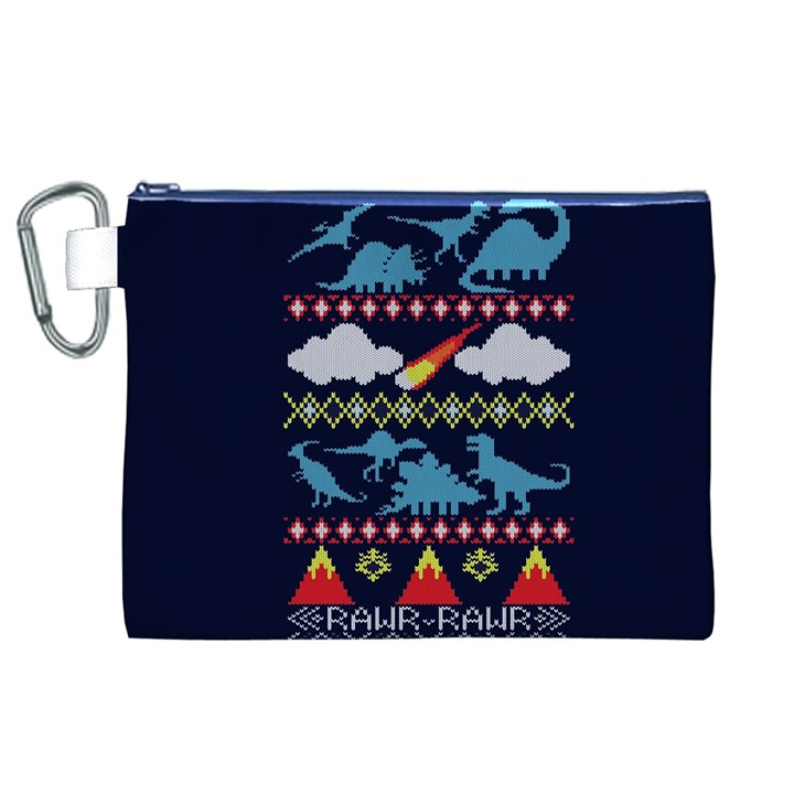 My Grandma Likes Dinosaurs Ugly Holiday Christmas Blue Background Canvas Cosmetic Bag (XL)