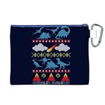 My Grandma Likes Dinosaurs Ugly Holiday Christmas Blue Background Canvas Cosmetic Bag (XL) Back