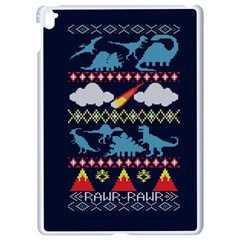 My Grandma Likes Dinosaurs Ugly Holiday Christmas Blue Background Apple Ipad Pro 9 7   White Seamless Case