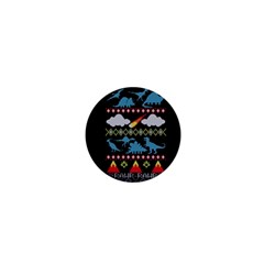 My Grandma Likes Dinosaurs Ugly Holiday Christmas Black Background 1  Mini Buttons