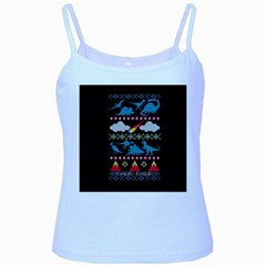 My Grandma Likes Dinosaurs Ugly Holiday Christmas Black Background Baby Blue Spaghetti Tank