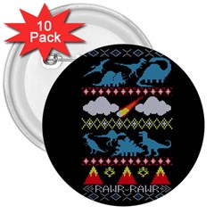 My Grandma Likes Dinosaurs Ugly Holiday Christmas Black Background 3  Buttons (10 Pack)