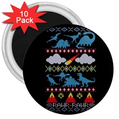 My Grandma Likes Dinosaurs Ugly Holiday Christmas Black Background 3  Magnets (10 Pack)