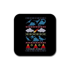 My Grandma Likes Dinosaurs Ugly Holiday Christmas Black Background Rubber Square Coaster (4 Pack)