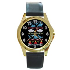 My Grandma Likes Dinosaurs Ugly Holiday Christmas Black Background Round Gold Metal Watch