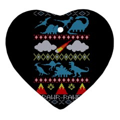My Grandma Likes Dinosaurs Ugly Holiday Christmas Black Background Heart Ornament (two Sides)