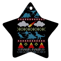 My Grandma Likes Dinosaurs Ugly Holiday Christmas Black Background Star Ornament (two Sides)
