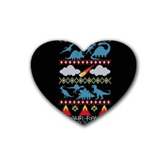 My Grandma Likes Dinosaurs Ugly Holiday Christmas Black Background Heart Coaster (4 Pack)