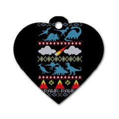 My Grandma Likes Dinosaurs Ugly Holiday Christmas Black Background Dog Tag Heart (two Sides)