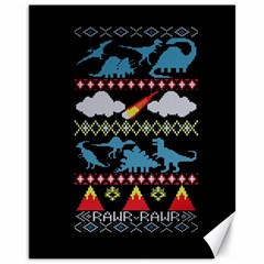 My Grandma Likes Dinosaurs Ugly Holiday Christmas Black Background Canvas 11  X 14