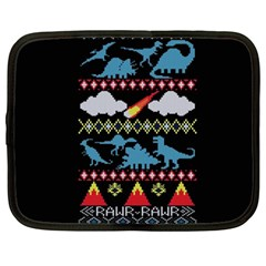 My Grandma Likes Dinosaurs Ugly Holiday Christmas Black Background Netbook Case (large)