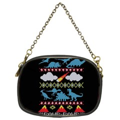 My Grandma Likes Dinosaurs Ugly Holiday Christmas Black Background Chain Purses (two Sides)