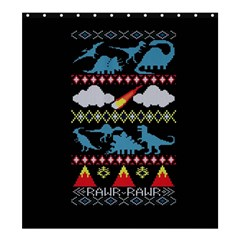 My Grandma Likes Dinosaurs Ugly Holiday Christmas Black Background Shower Curtain 66  X 72  (large)