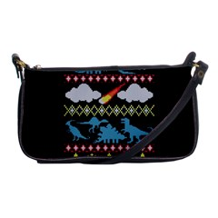 My Grandma Likes Dinosaurs Ugly Holiday Christmas Black Background Shoulder Clutch Bags