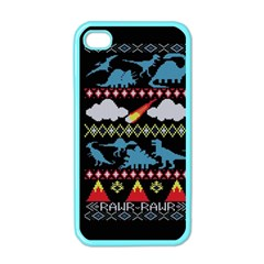 My Grandma Likes Dinosaurs Ugly Holiday Christmas Black Background Apple Iphone 4 Case (color)