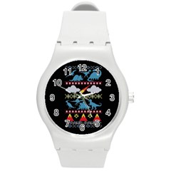 My Grandma Likes Dinosaurs Ugly Holiday Christmas Black Background Round Plastic Sport Watch (m)